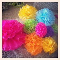 Tissue Paper Pom-Pom Balls...looks super easy for a party, maybe in my classroom?