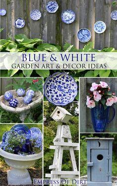 Blue and white garden art  decor ideas  #DIY #gardenart #spon #gardendecor