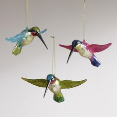 Glass Hummingbird Ornaments... My mom would probably like these.