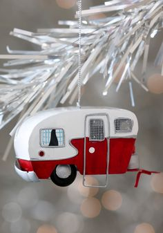 Mobile Home for the Holidays Ornament - Red, White, Quirky, Mid-Century, Holiday
