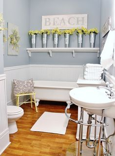 Five easy ideas/projects to update a bathroom. Create the look of a vintage farmhouse bathroom with these ideas!