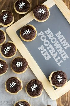 Mini Brownie Football Pies | crazyforcrust.com | Perfect for game day!