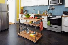 a finished butcher-block island on wheels