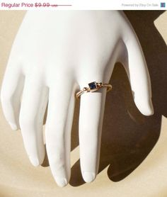 FALL SALE Vintage Gold Spiral Sapphire Ring by PaganCellarJewelry, $7.49