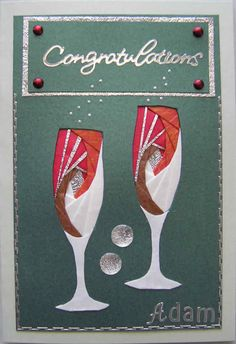 Iris Folding Patterns Free Printables | pattern cut into the shape of two champagne classes the