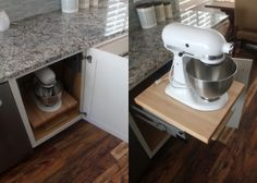 "If you love your stand mixer, you'll adore Diamond's base mixer cabinet, a hidden gem of #cabinet #organization. Elyse raves, ""Next to our dishwasher is what looks like a regular cabinet door, but opens up to a storage spot for a stand mixer! It actually pulls out so you don't have to keep your stand mixer on your counter, but still have easy access to it. My husband thinks this is the coolest invention ever."""
