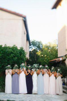 floor length #bridesmaiddresses- photo by http://www.awakeyoursoul.com - http://ruffledblog.com/one-world-theatre-wedding/