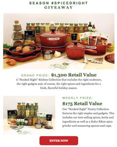 "Wishing for this ""Stocked Right"" Kitchen Collection? Enter the ""Season #SpicedRight Giveaway"" sponsored by Simply Organic for your chance to win this, plus 6 weekly kitchen prize packages. Click http://bit.ly/1EbRNvQ to enter."