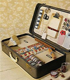 Craft suitcase - there are so many possibilities with this! Now I need more suitcases. :)
