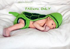 Turtle Hat Diaper Cover Tail and Shell Crochet by DarlingDerriere, $5.50