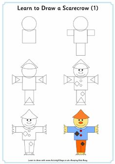 Learn to draw a scarecrow tutorial