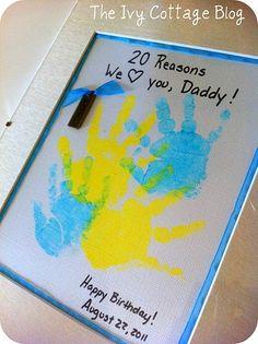 Kids handprint gift to parents or even grandparents. Sure to melt their heart!    #fathersday #handprints #homemadegifts #kids #kidscrafts