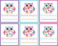 printable owl book plates