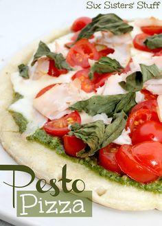 Delicious Fresh Pesto Pizza from sixsistersstuff.com #pizza #pesto #recipe