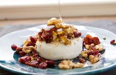 Easy Appetizer - goat cheese with dried cranberries, walnuts and honey