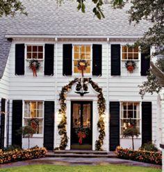 love wreaths on all the windows.