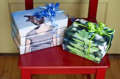 DIY Photo Wrapping Paper — create a stack with the same photo to add interest