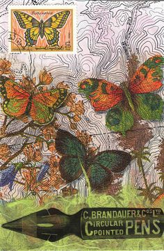 MAIL ART... collage postcard made with the rescued black and white topo map, butterfly napkin, washi paper, and a clip art pen nib copied onto rescued printer transparency....by dumsterdiversanonymous