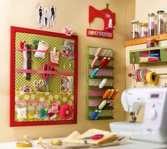 love the colors of this sewing corner.