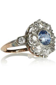 Heirlooms Edwardian 18-karat gold, platinum, diamond and sapphire ring