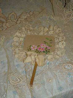 Edwardian Roses Silk Fan Lace Boudoir Ladies Vanity Item Hand Painted Flapper Wand.  via Etsy.