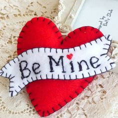FY085 - Hot Red - BE MINE - Heart Shape Handmade Felt Brooch For Your Love One £10.00