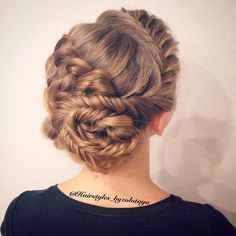 Fishtail dutch braid into bun