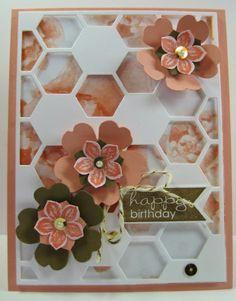 Stampin' Up! Hexagon Hive, Flower Shop, pansy punch, Petite Petals & Crisp Cantalope