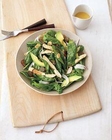 Spinach, corn and avocado salad