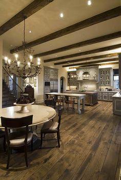 arrows, custom homes, exposed beams, luxury kitchens, ceiling beams, home kitchens, open kitchens, beams in kitchen, arrow key