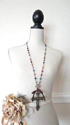 Statement Rustic Metal Cross Multi Stone Beaded by daydreamjewels,