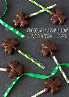 chocolate marshmallow shamrock pops - bake.love.give.