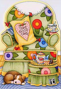 ME... take good care mari engelbreit, chair, tea time, greeting cards, mari englebreit