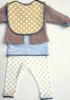 Hand Printed Unisex Baby Footless Legging in Organic Cotton - Yellow Dots on White. $49.00, via Etsy.