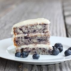 Moist Blueberry Cake with Light Lemon Icing from IAdoreFood