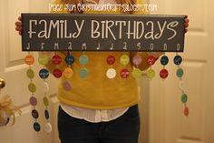 Christineys Crafts: Family Birthday Chart