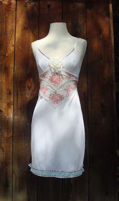 Upcycled dahlia hankie slip dress