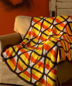 Candy Corn Throw Free Crochet Pattern from Red Heart Yarn Halloween