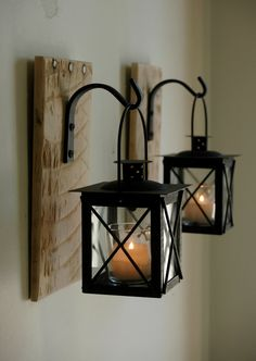 Black Lantern Pair with wrought iron hooks on recycled wood board for unique wall decor, home decor, bedroom decor