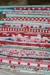 red and aqua fabric