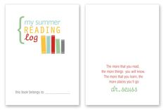 Printable Summer Reading Log for Kids