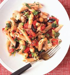 penne with broccoli, red pepper, artichoke, tomatoes