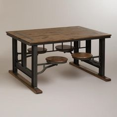 The Galvin Cafeteria Table offers table space and seating all in one piece. Beautifully crafted of lenga wood and metal, it features four stools that swivel underneath the table for convenient storage and layered appeal, making it a practical and gorgeous accent piece for the dining room or any room.