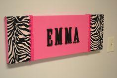 Zebra Hot Pink Fabric Wall Hanging Decor Custom Monogram Initial Decor