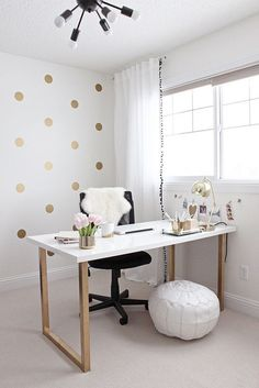 Pretty white home office ideas