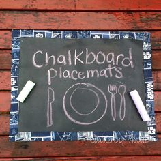 diy Chalk board placemats. What a great idea for a school room too.