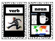 Parts of Speech Word Wall - This is a set of 8 parts of speech cards with words and pictures to post in your classroom on a parts of speech word wall or bulletin board.
