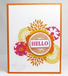 A vibrant Petal Parade Hello!  Love this color combo...Melon Mambo, Crushed Curry & Pumpkin Pie (CASE'd from Ruth Norton)