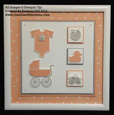 A Baby Themed Frame - using the new Stampin' Up! Something for Baby Stamp Set and Framelits with the new Lullaby Designer Paper. layered with Crisp Cantaloupe and Smoky Slate card stock, and a few pearls. #Stampinup #somethingforbaby #lullaby #babygift