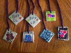A craft for the older kids: Foil pendants